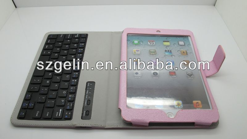 Magnetic detachable wireless keyboard leather case for ipad mini