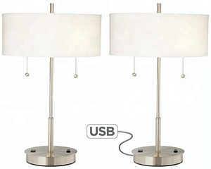 Nickel Hotel Bedside Table Lamp With Fabric Shade