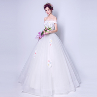 8611 Sexy strapless off shoulder tulle puffy princess ball gown applique wedding dress