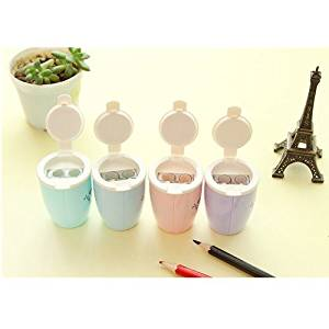 Cindy&Will 4PCS Creative Mini Coffee Cup Shape Double Pencil Sharpener/ Manual Pencil Sharpener ,Pink&Purple&Green&Blue
