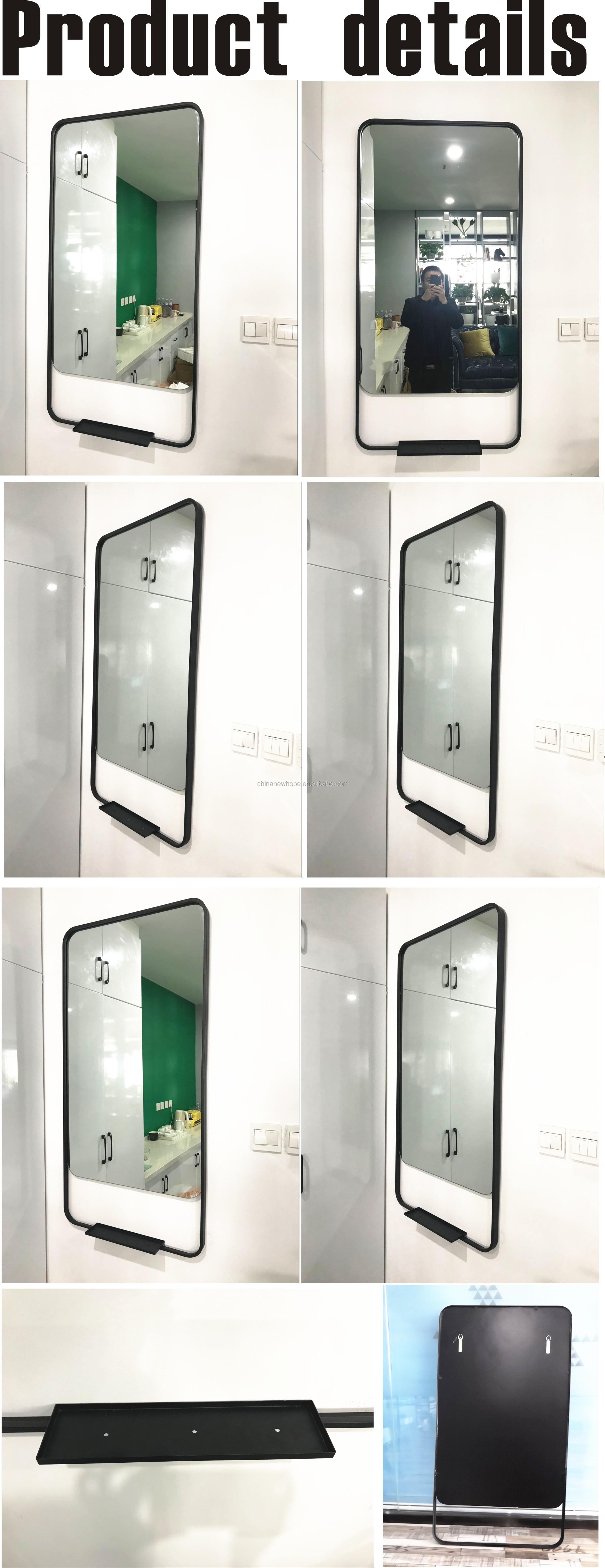 ขายส่งโรงงานราคาที่กำหนดเองรอบผนังห้องน้ำกระจกวงกลมติดผนัง Vanity แต่งหน้ากระจกโลหะกรอบกระจก