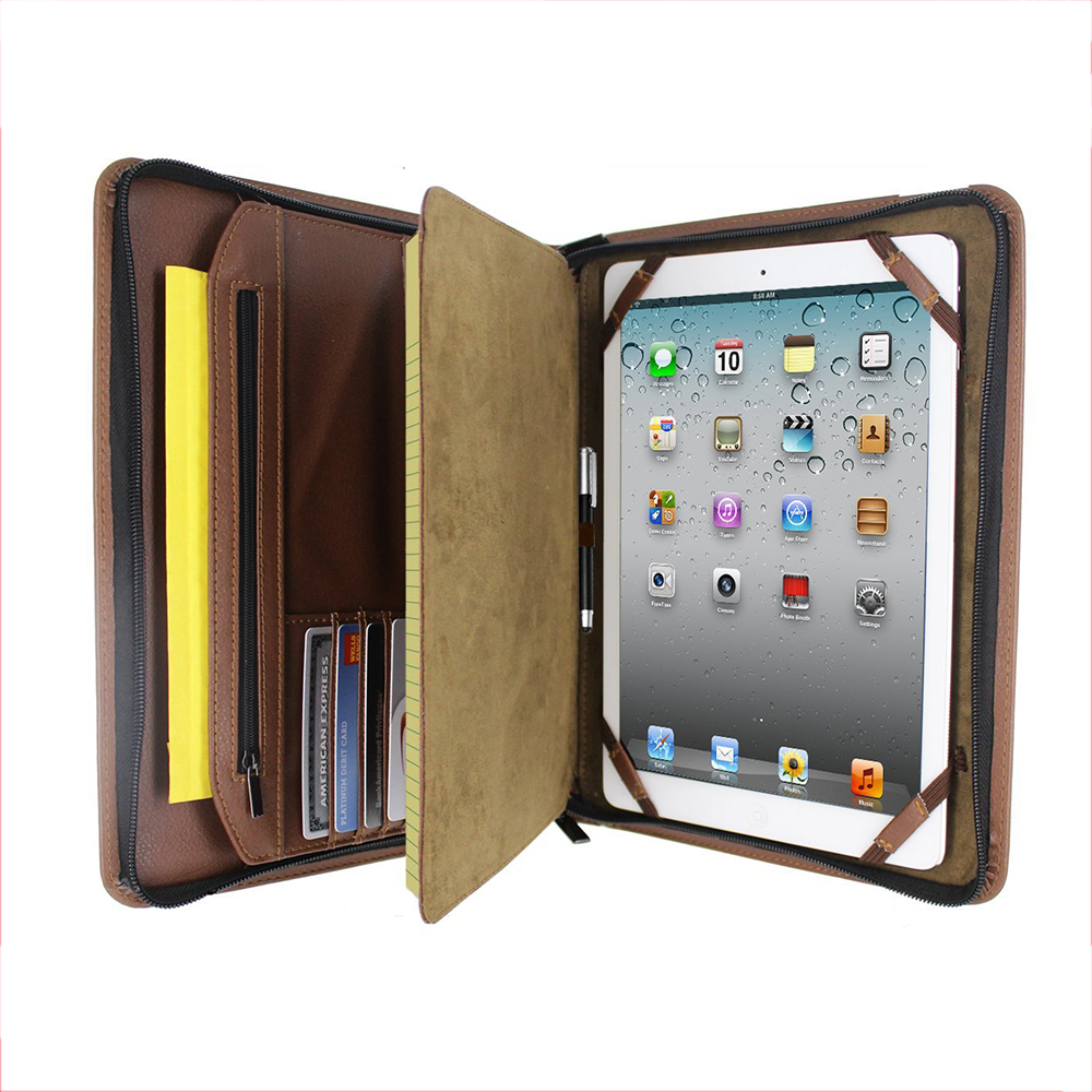 Custom Brown Leather Executive Pad Folio Case For Apple <strong>Ipad</strong> Multifunction Profolio Notepad Holder for <strong>iPad</strong>