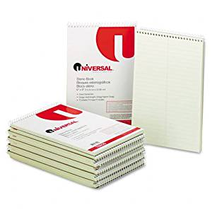 Universal : Steno Book, Gregg Rule, 6 x 9, Green, 70 Sheets per Pad -:- Sold as 2 Packs of - 1 - / - Total of 2 Each