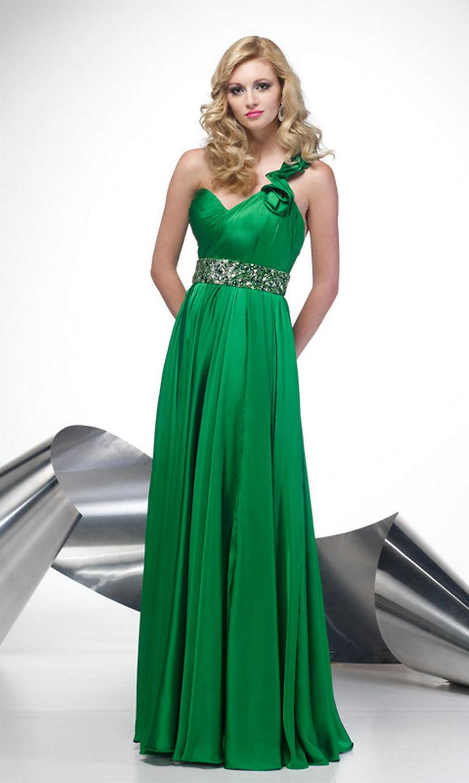 Green Evening Dress Chiffon Ruffle Beading Formal Dresses Vestido De Festa  Longo One Shoulder Long Evening 088e8acf99ed