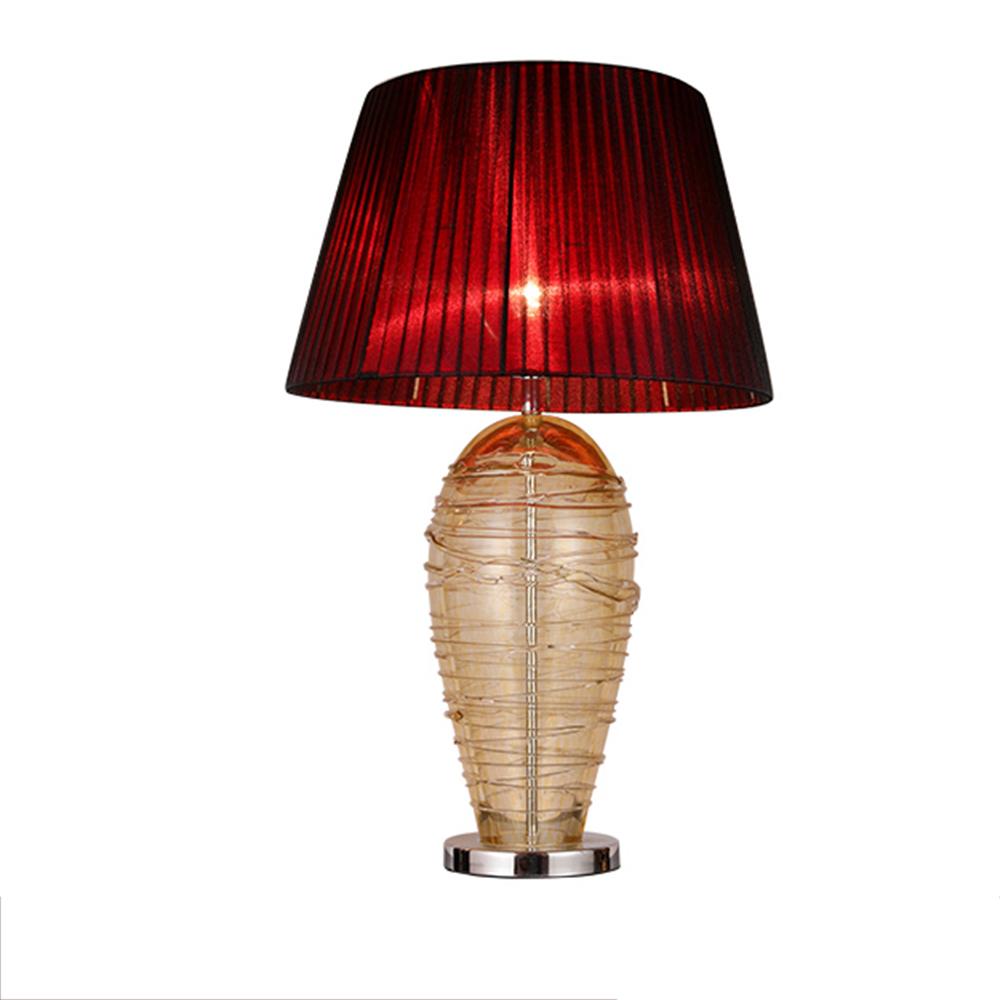 Modern ışık kumaş gölge el yapımı cam çelik taban masa lambası oturma odası için