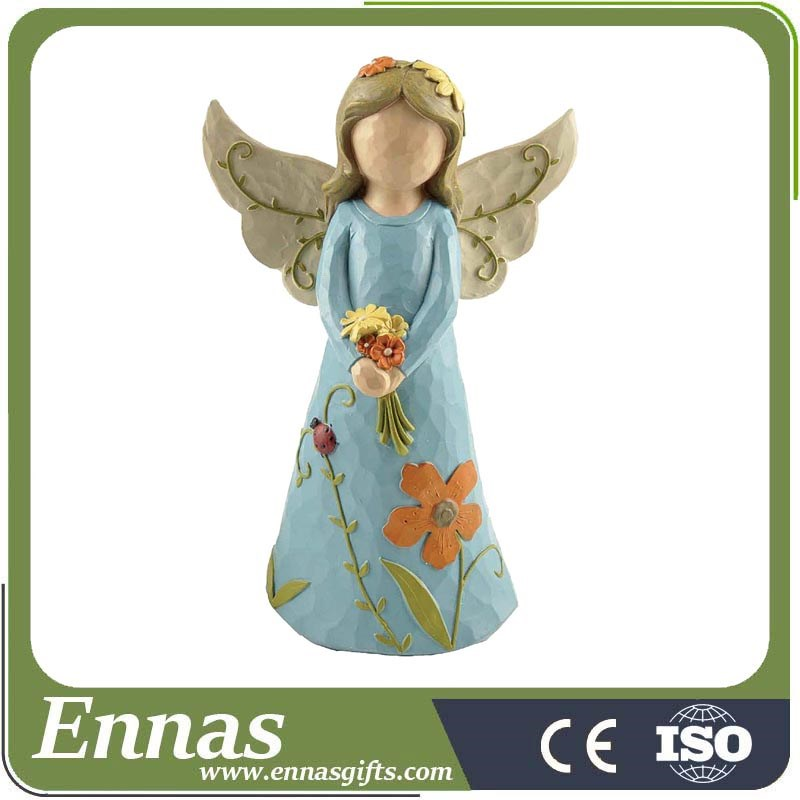 Holding flowers Girl figurine Polyresin Angel Statues for HOME GIFTS