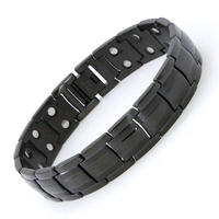 Elegant stainless steel titanium black therapy magnetic bracelet