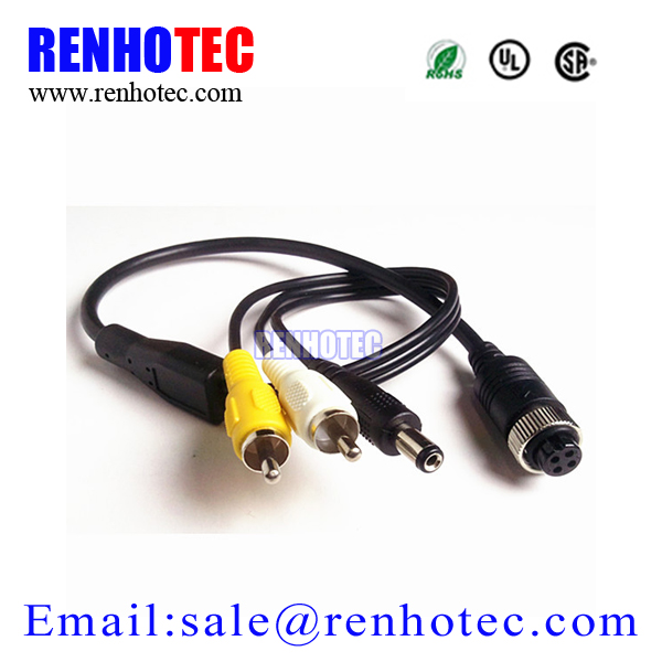 4 Pin Aviation Connector to RCA Male Female Adapter Cable For CCTV Camera System