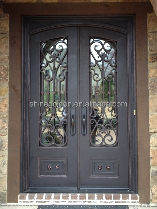 Wrought Iron Double Arched Top Entry Door Prehung Door Gyd