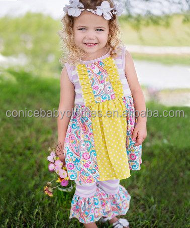 factory OEM summer flutter ruffles printed dress sleeveless clothes