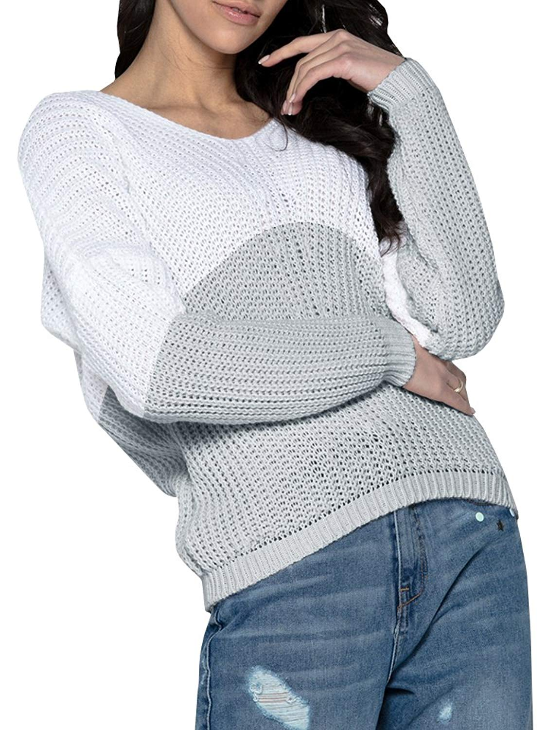 Womens Oversized Sweater Fall Knit Baggy Batwing Pullover Color Block Jumper Tops