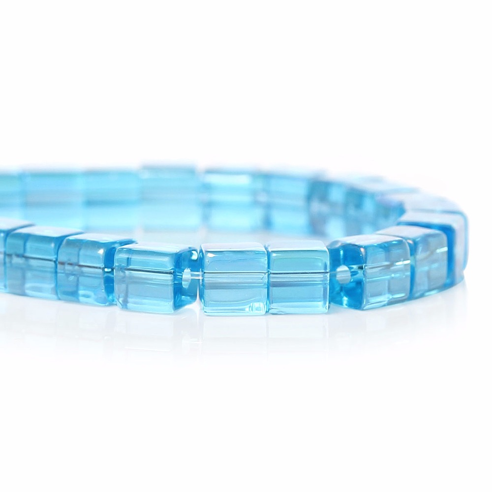 Wholesale Lake blue AB Color Cube Glass Loose Beads 4mm China