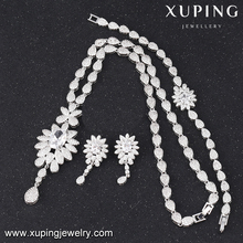 S-46 Unique Ladies White Color Luxury Cubic Zirconia Fashion Jewelry Set S-46