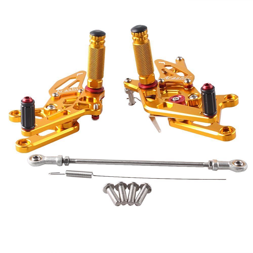 H2Racing Black CNC Billet Rearsets Adjustable Foot Pegs Rest Pedal Foot Controls for CBR250R 2011-2014 CBR300R 2014-2016
