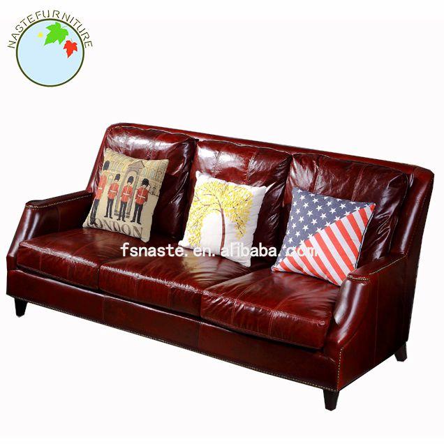 El último diseño de madera tapizado de cuero conjunto de sofás ...