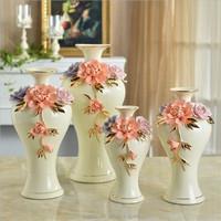 2016 ceramic decoration vases for home. European style unique golden handmade white ceramic flower vases
