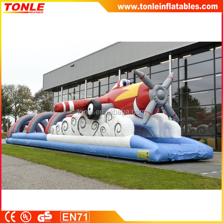 2016 hot sale inflatable belly slide airplane for kids, inflatable dry and water slide for sale