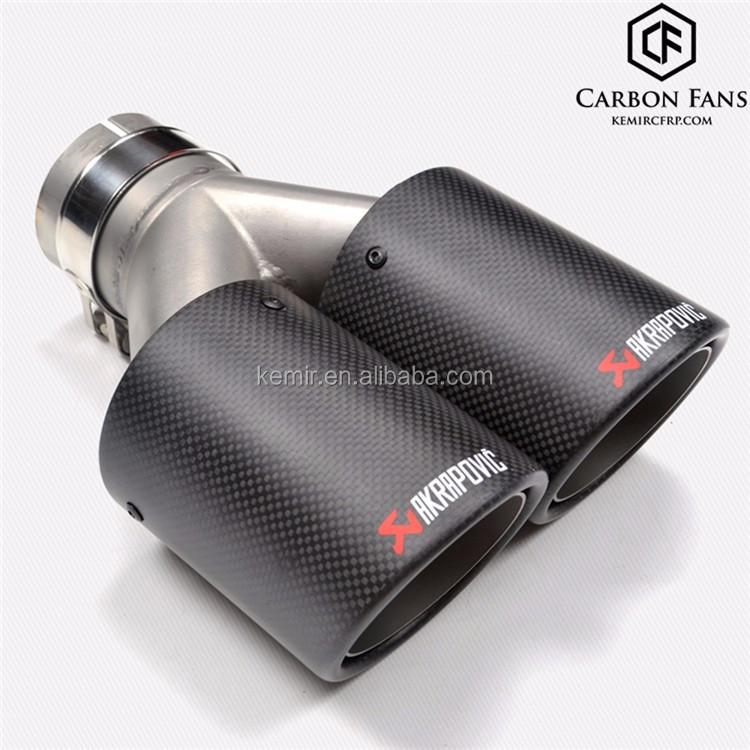 Universal Y style Dual outlet Ak Carbon fiber exhaust tip with Double outlet carbon exhaust pipe, 304 Stainless Steel