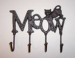 """""""ABC Products"""" - Pet Cat Hook Hanger - Heavy Cast Iron - With 3 Heavy Wire Hooks - With A Sign That Says """"MEOW"""" - Wall Mount - (Rustic Dark Bronze Finish - Accented With A Cat On Top)"""