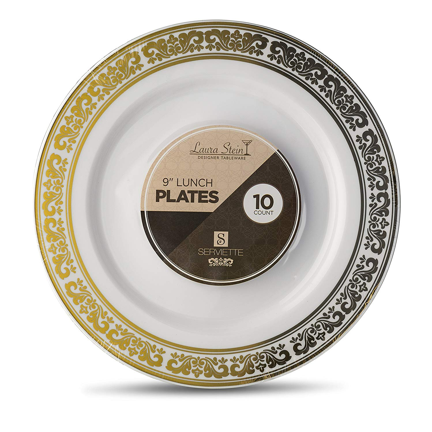 Laura Stein Designer Tableware Premium Heavyweight 9'' Inch White And Gold Rim Plastic Party & Wedding Plates Serviette Series Disposable Dishes Pack of 20 Plates