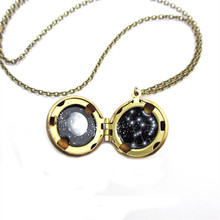 Orion Mini locket necklace Constellation and Full Moon Brass Locket jewelry