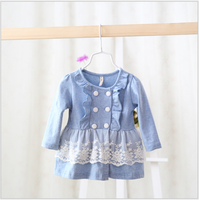 S30736W 2015 New design vintage boutique petti dress kids solid color with lace long spring dress