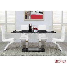 stainless steel tube glass top dining table designs