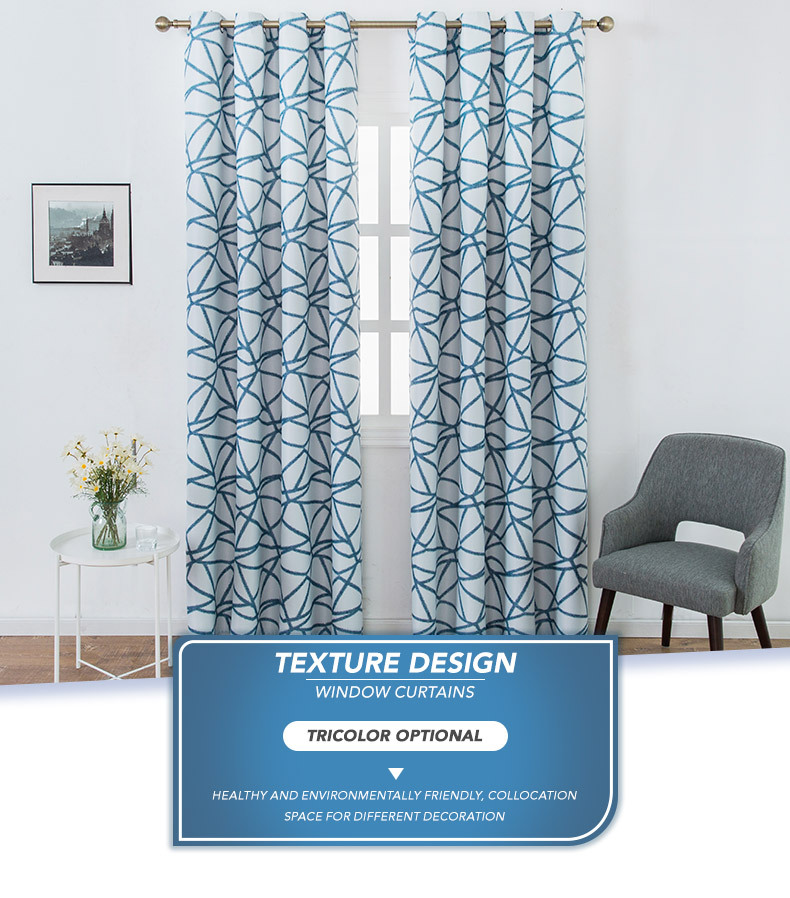 Irregular Stripe Decorative Eyelet Panels Drapes Wave Geometric Blackout Curtains For Living Room Hotel Window