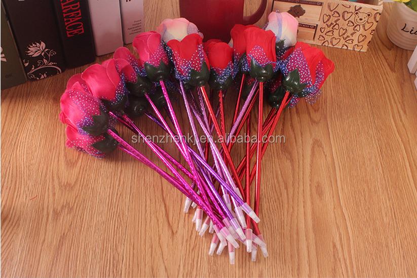 Purple Pink Novelty Gift Red Silk Rose Ballpoint Pen