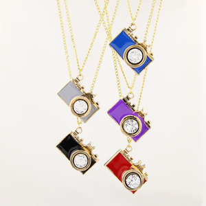 Wholesale cheaper fashion alloy antique brass vintage crystal enamel camera pendant