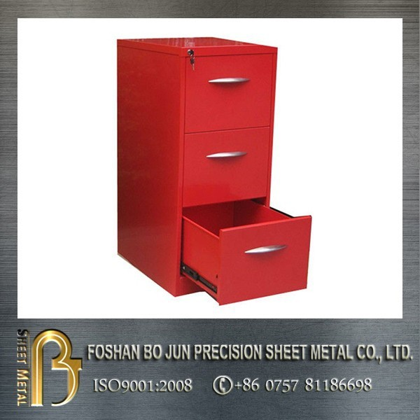 High quality floor-standing red powder coated 3 drawers custom filing cabinet with lock : precision filing cabinet - Cheerinfomania.Com