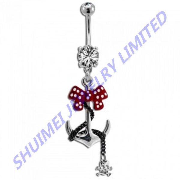 Polka Dot -Bow -Skull Steel Anchor Dangle Navel& Belly Button Ring Earring Gauge Piercing Body Jewelry 14G
