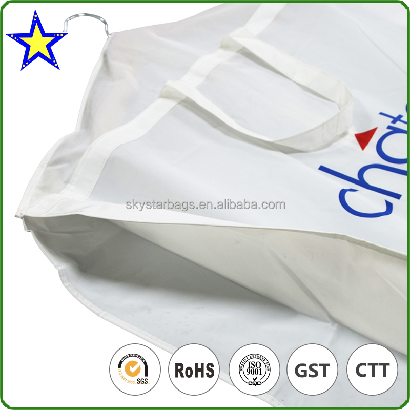 Fashionable custom silk screen printing white nylon zipper stitching peva bridal garment bag