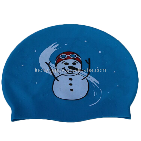 Christmas Gift 100% silicone animal swimming caps for kid