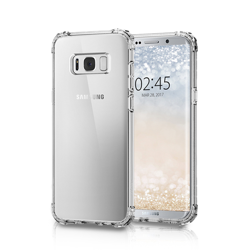 Factory phone case Light Flash Crystal Clear Transparent Anti knock Soft TPU Cover Case For Samsung s8