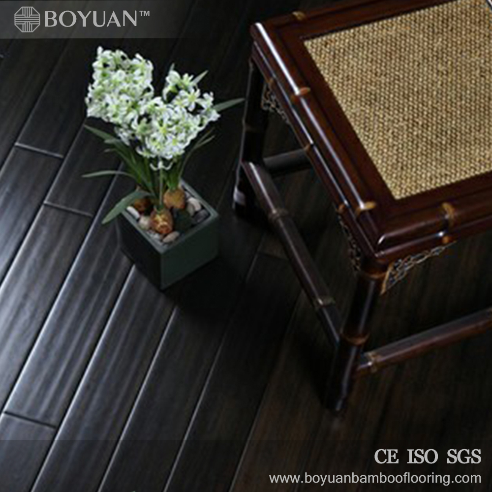 2017 sell well black handscraped indoor bamboo flooring floating pattern