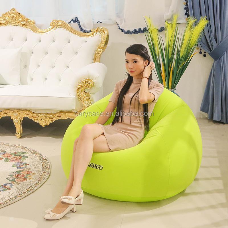 Flocking pvc inflatable lazy sofa household single sofa, Good quality air beanbag chair