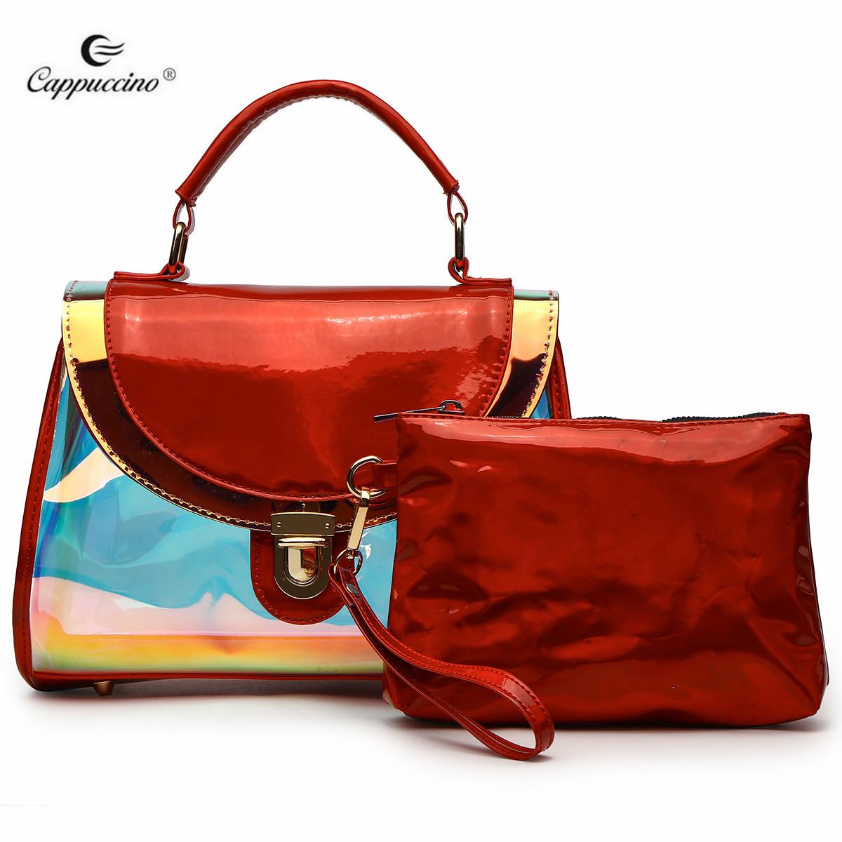 2019 Cappuccino Commercio All'ingrosso Di Marca Ologramma Shoulder Bag Tote Faux Borsa In Pelle 2 in 1 Satchel Bag Buy 2 in 1 Borsa Borsa,Sacchetto