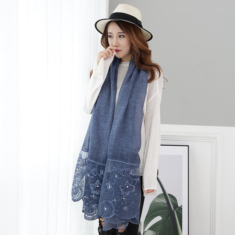 New Autumn and Winter Cotton and Linen Solid Color Shawl Women Long Fashion Scarf Lace