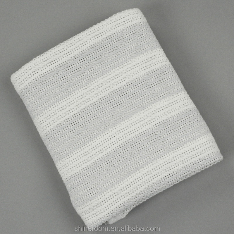 ECO Friendly GOTS Certified 100% Organic Cotton Stripe Weave Baby Blanket