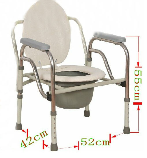 Folding Commode Chair Folding Handicapped Bath Chair Disabled Toilet Potty Chair ...