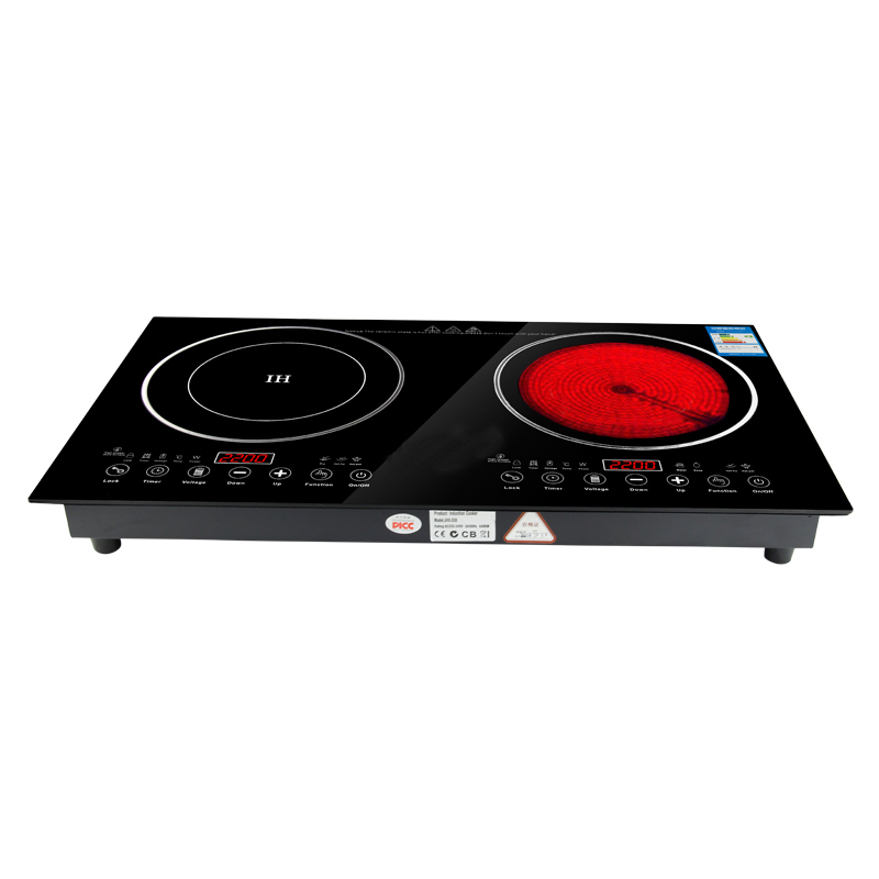 Double Plate Infrared Cooker,Embeddable Two Burners Induction Hob and Electric Ceramic Stove