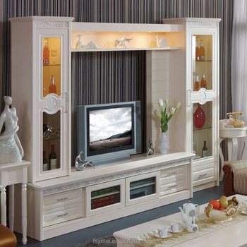 Ivory White Color Tv Wall Unit With