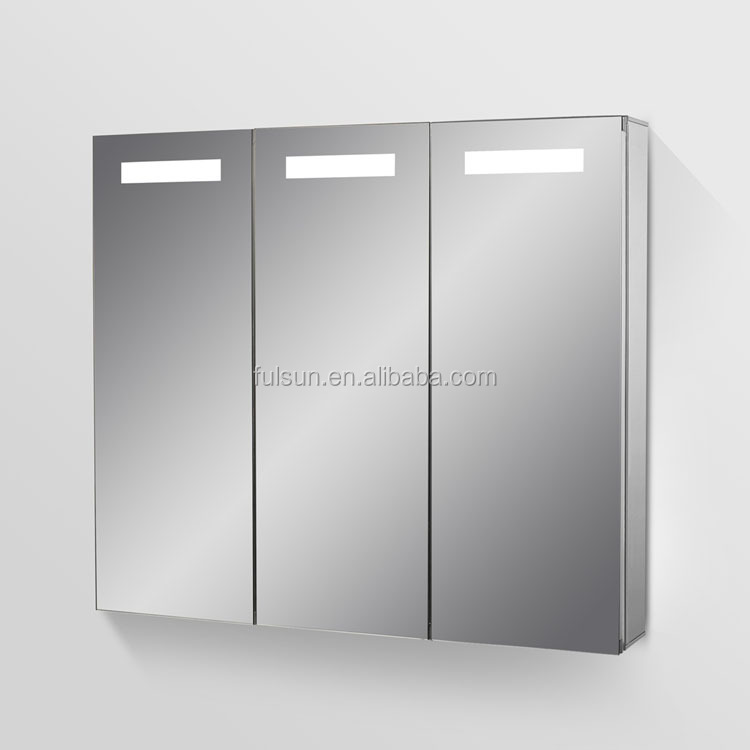Hot selling bathroom vanity product 3 doors aluminium mirror cabinet with LED