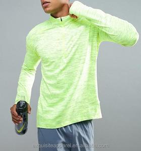 mens long sleeve polyester / spandex customized wholesale dri fit breathable work out t shirt