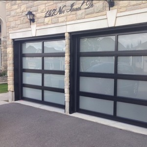 Aluminum alloy material frosted glass modern black garage doors
