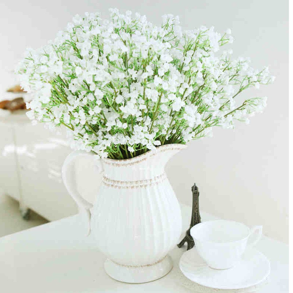 Get Quotations Hlm Artificial Flower White Baby S Breath Gypsophila For Wedding Home Decoration 40cm