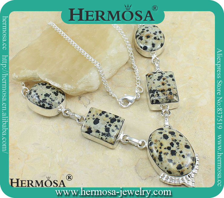 925 Sterling Silver Natural Dalmatian Jasper Necklace Trendy Gems Necklace Y355