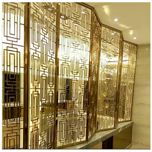 Perforated Glass Laser Cut Restaurant Metal Fixed Room Divider