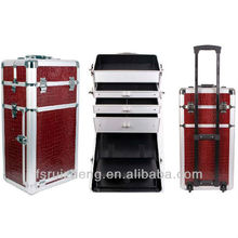 RZ-TFB3, Bronzing Professional Makeup Trolley Case,Imitation Alligator Aluminum Beauty Case With Drawers